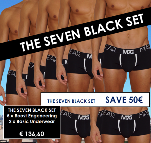 THE SEVEN BLACK SET - 5 Pants schwarz mit BOOST ENGENEERING + 2  Pants Basic Underwear SCHWARZ