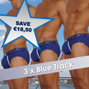 3 x Blue Track Briefs with BOOST ENGENEERING