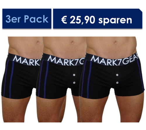 Kelson 3er Pack Pants, Night Black mit JOCK BOOSTER (PUSH-UP EFFEKT)